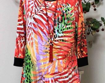 New Spring Leaf print Designer tunic Medium to 3XL