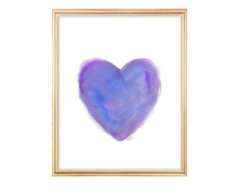 Purple Heart Print, 8x10 Watercolor Print, Purple and Blue Decor, Jeweltone Decor, Purple Art, Purple and Blue Painting, Purple Room Decor