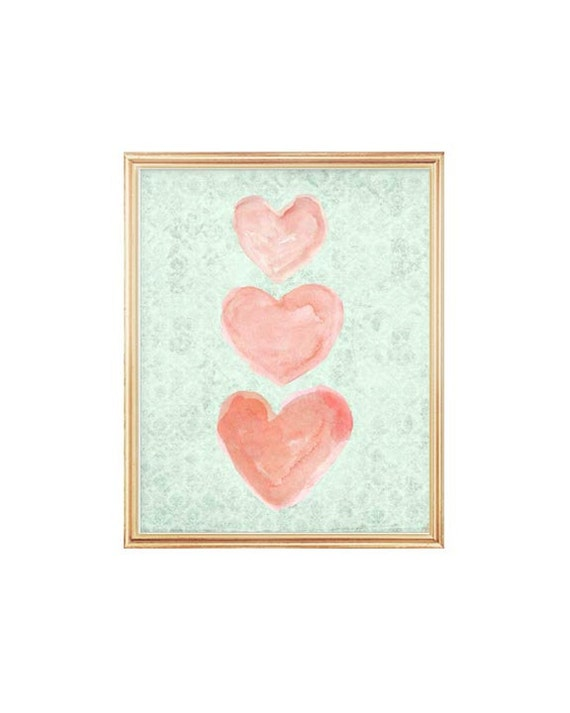 Coral and Mint Girls Print, 8x10 Watercolor Hearts