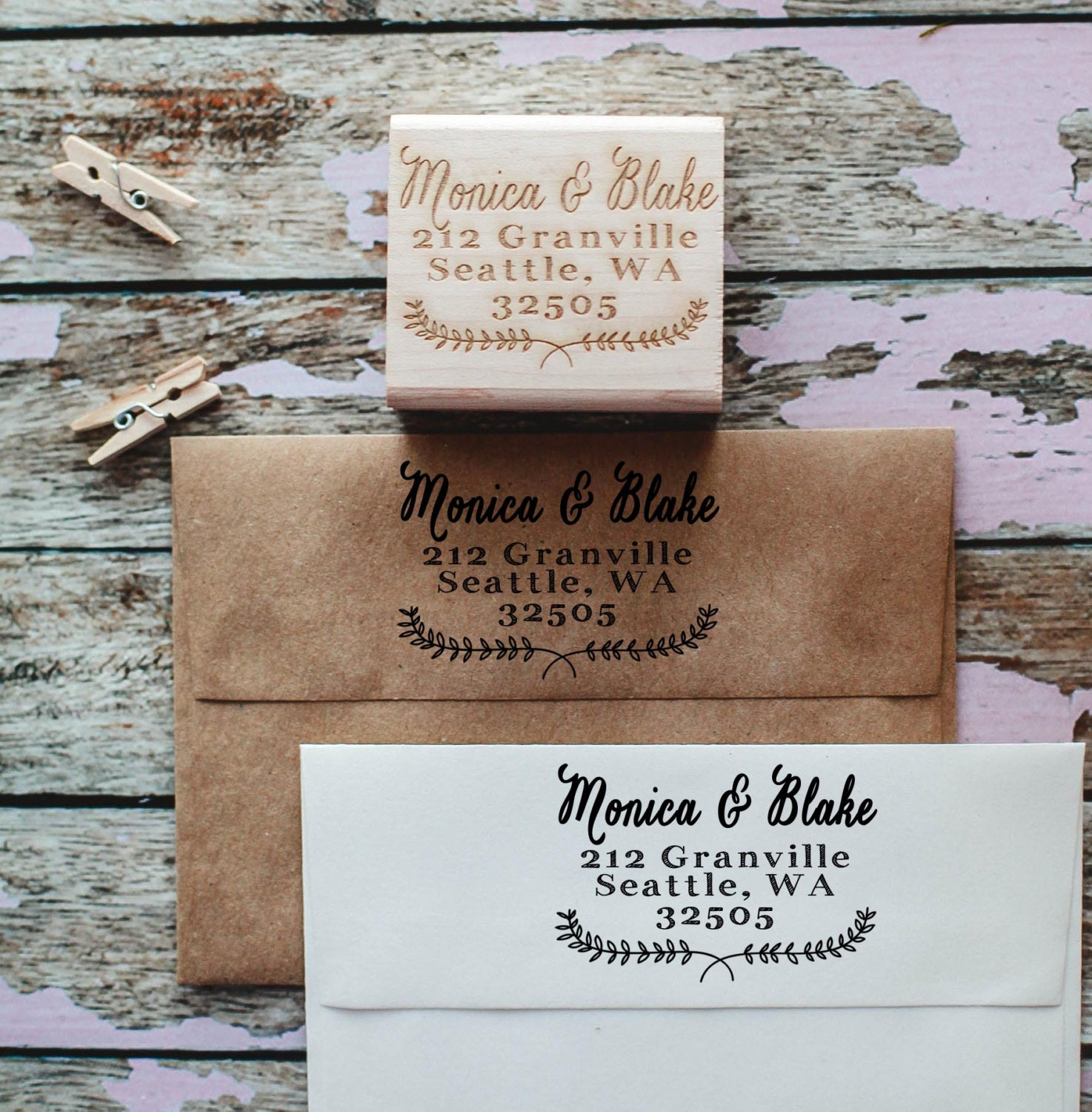 Return Address Stamp Custom Calligraphy Stamp Wedding Stamp