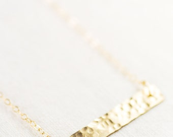 Kaila necklace - gold bar necklace, single strand necklace, hammered gold filled bar necklace, minimal necklace, geometric, maui, hawaii