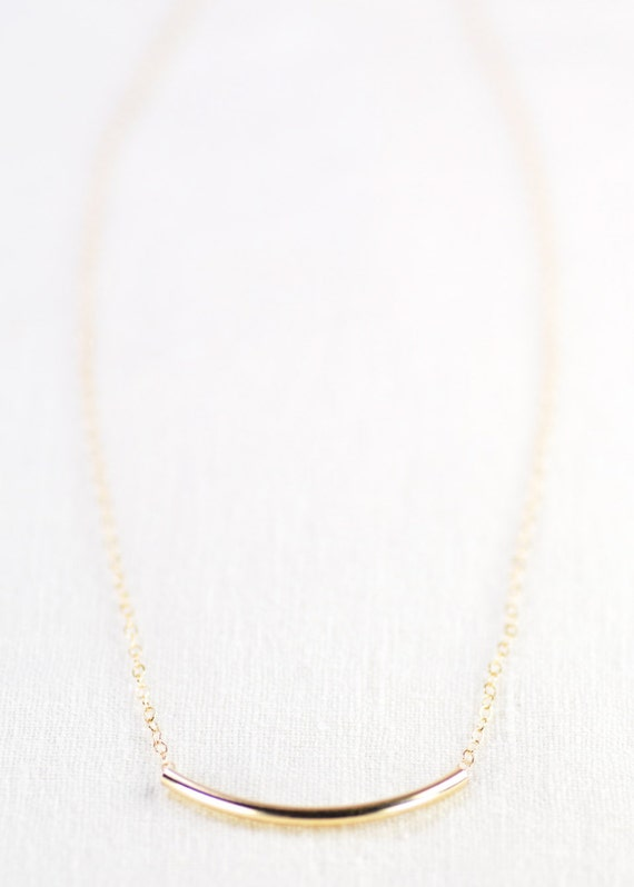 Auali'i necklace  - gold tube necklace - delicate gold necklace, gold bar necklace, modern jewelry, minimal necklace, simple necklace, maui