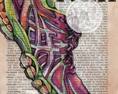 PRINT:  Run Mixed Media Drawing on Antique Dictionary Page