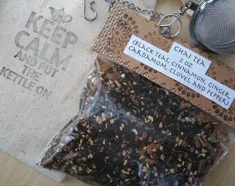 Tea Lover Gift Set, Choose TWO teas... Chai Tea, Green Tea, or Chamomile Tea... With Custom Stamped Bag and Mesh Tea Ball