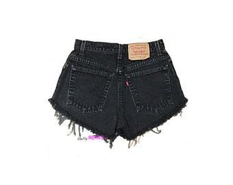 ALL SIZES  Vintage Black High Waisted Levis Cut Off Denim Shorts