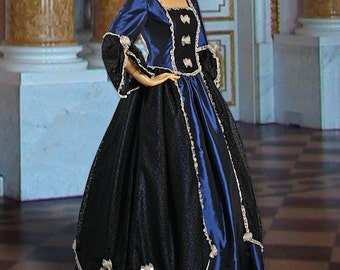 Gothic or Renaissance Style Dress Handmade from Taffeta, Multiple Colors Available