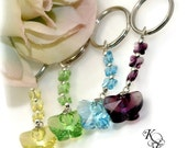 Butterfly Key Chain, Pick Your Colors, Swarovski Crystal Butterflies, Butterfly Pendant, Butterfly Key Ring