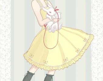 """Lolita Print postcard 4x6"""" print White Rabbit Girl"""