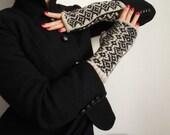 Hand knit wool fingerless