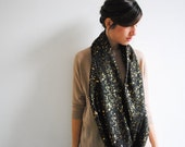 Black Scarf Gold Infinity Scarf Galaxy Loop Scarf Circle Scarf Infinity Nursing Long Neck Scarf Mother's day Gift