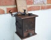 Antique/Primitive Dark Walnut Wood Coffee Mill Box