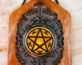 Pentagram Plaque for Pagan Wicca Magic Goth Occult use or display