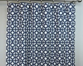 Navy Blue White Geometric Trellis Gigi Curtains - Rod Pocket - 84 96 108 or 120 Long by 25 or 50 Wide - Optional Blackout or Cotton Lining
