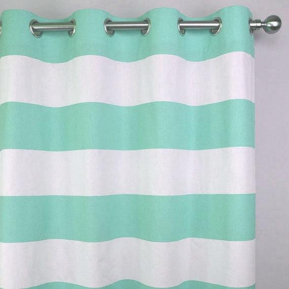 Mint Green White Cabana Horizontal Stripe Curtains Grommet