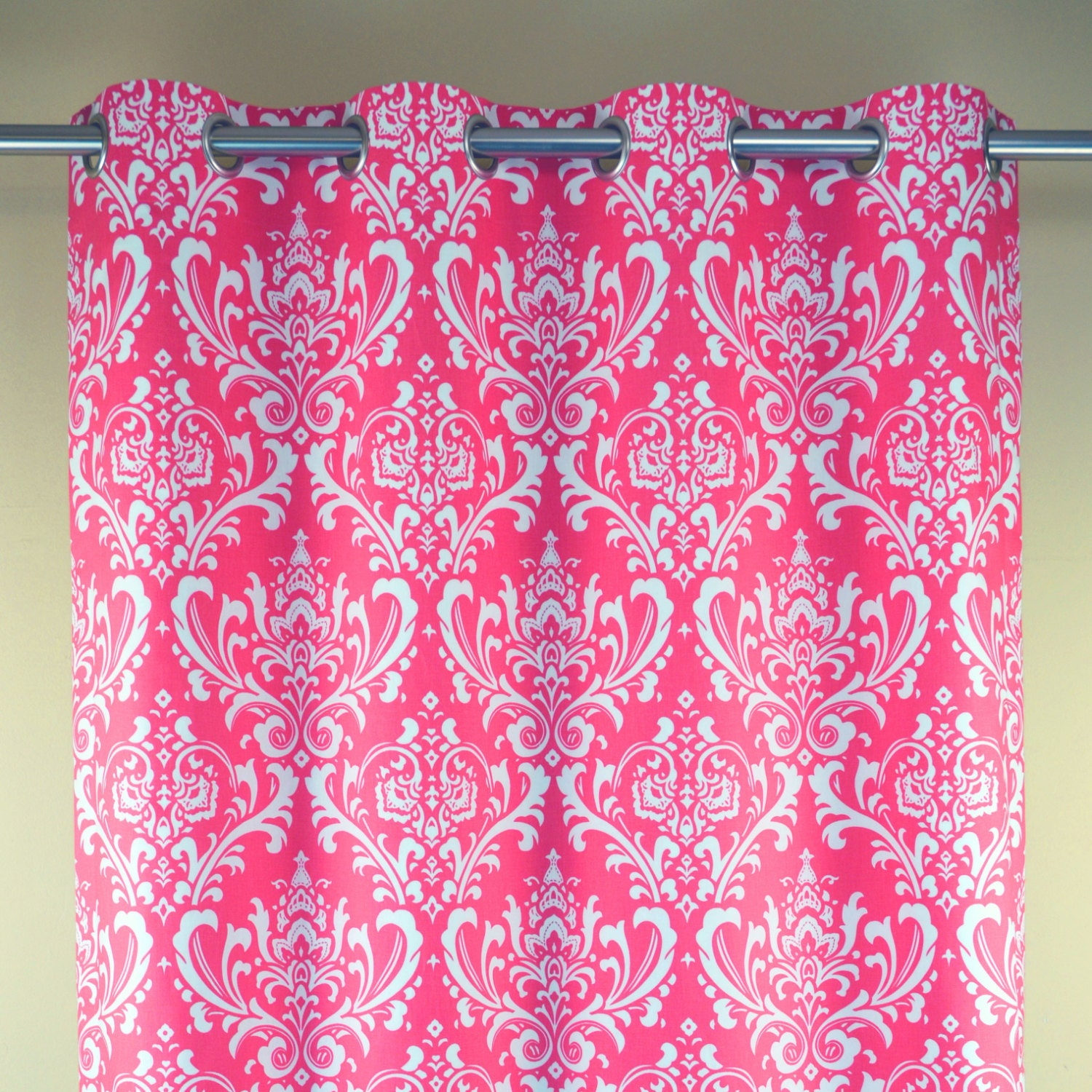 candy hot pink white ozborne damask curtains grommet 84 96
