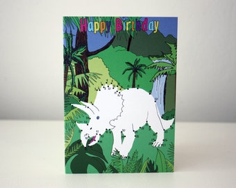 dinosaur birthday card dot to dot dinosaur triceratops card Jurassic Park Jurassic World Birthday card