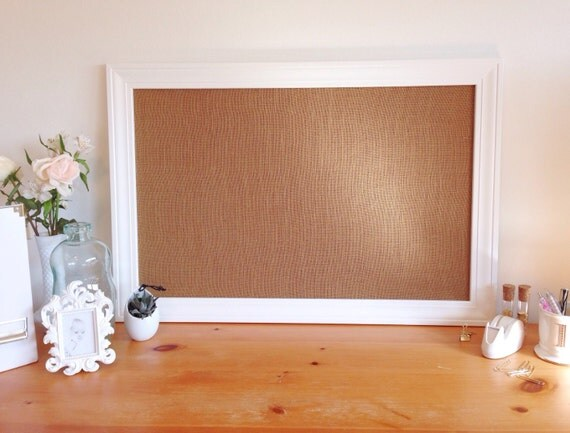 Large framed burlap bulletin board memo board office decor for Kitchen cork board ideas