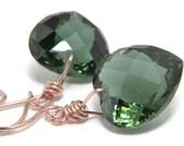Green Amethyst Earrings, 14K Solid Rose Gold, Handmade, Luxe Earrings, Heart Gemstone, Dark Green