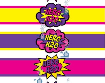 Superhero Waterbottle Labels • Hero H20 • GV1 Color • INSTANT DOWNLOAD