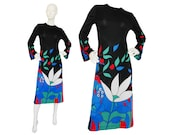 SALE - 30% Louis Féraud 1960s 1970s Vintage Graphic Printed Dress Designer Evening Dress Mod Space Age Black US Size 8-10 Small-Medium