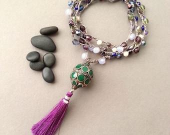 Tassel Necklace Long Beaded Crochet Tassel Necklace Tibetan Brass Enamel Green Purple Boho Bohemian Chic Tami Lopez Designs