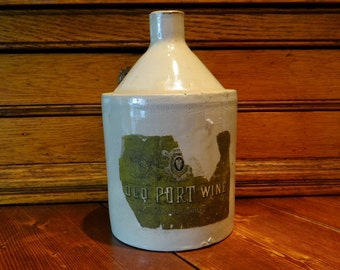 Antique Crock Jug - Stoneware Old Port Wine Jug - Amazing Brewery Collectible - Vintage Stoneware Jug