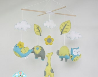 blue and yellow baby mobile- Forest baby mobile- blue and yellow animals mobile