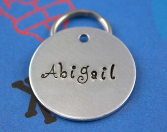 Personalized Metal Dog or Cat Name Tag - Unique - Handstamped - Customized