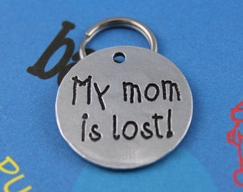 Custom Aluminum Dog Tag - Metal Pet ID Tag - Engraved Dog Name Tag - Personalized - My Mom is Lost! Name and Number on Back
