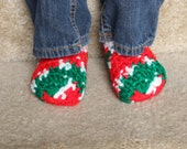 Infant and Toddler Christmas Slipper Socks - Red, Green, White Slippers - Holiday Slippers - Stocking Stuffer