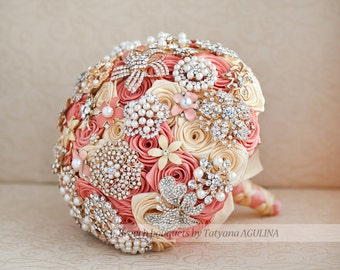 FULL PRICE! Brooch bouquet. Coral and Yellow wedding brooch bouquet, Jeweled Bouquet. Made upon request