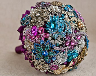 Brooch bouquet. Brooch bouquet. Purple, Teal and Gold wedding brooch bouquet, Jeweled Bouquet. Made upon request