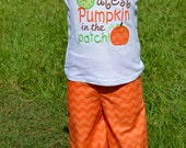 Cutest Pumpkin In The Patch Girls Embroidered Shirt and Ruffle Pants