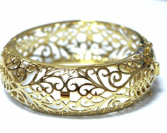 moroccan filigree 14k gold plated vintage cuff wide bracelet morocco 14 ct fashion, wide gold bangle, yellow gold bangle, gold plated bangle