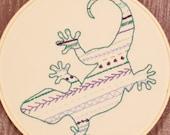 Lizard Hoop Art Stitch Sampler Wall Decor Chameleon Reptile Wall Hanging Boy's Room Nursery Art