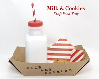 MILK & COOKIE Christmas Snack Trays/Hand Stamped Party Supply 24 Ready To Serve Trays -Popcorn, Cookies, Smores, Candy Bar, Santa  Favors