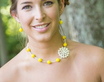 Bridesmaid Gift-Yellow Bridesmaid Jewelry-Yellow Necklace-Bridesmaid Necklace-Yellow Jewelry-Wedding Jewelry