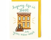 Best Nest City Card - house warming new home owner brownstone illustrated card