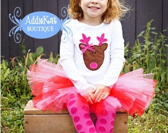 Personalized Pink Reindeer Christmas Tutu Outfit