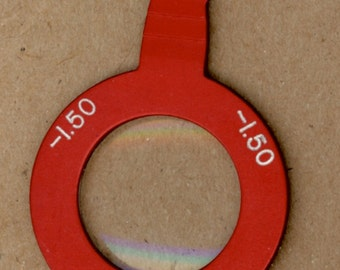 Vintage Optical Lens, Red Metal, Limited Edition, for Mixed Media Assemblage, Altered Art, Jewelry