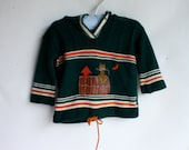 Kitty Kat Sweater / Vintage Sweater / Kids Sweater / 1970's Sweater / Hooded Sweater / Unisex Sweater / Hoodie Sweater 12/18M