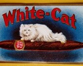 Vintage Unused Embossed Cigar Label White Cat Brand Featuring a White Long Haired Cat Resting on a Cigar Great for Framing or Scrapbooking