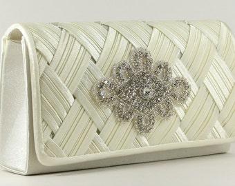 Bridal Clutch - Off White Satin Bridal Clutch with Austrian Crystal Accent - Wedding purse - Off White Purse - Bridal Clutch