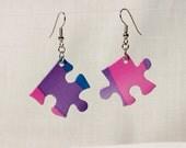 Pink Purple Blue Asymmetrical Puzzle Piece Earrings - Gift Under 10