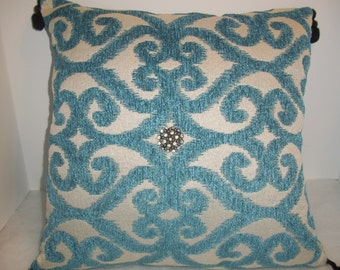 Upcycled Pillow, Home Decor, Turquoise Blue, White, Cushion, Antique Rhinestone Button