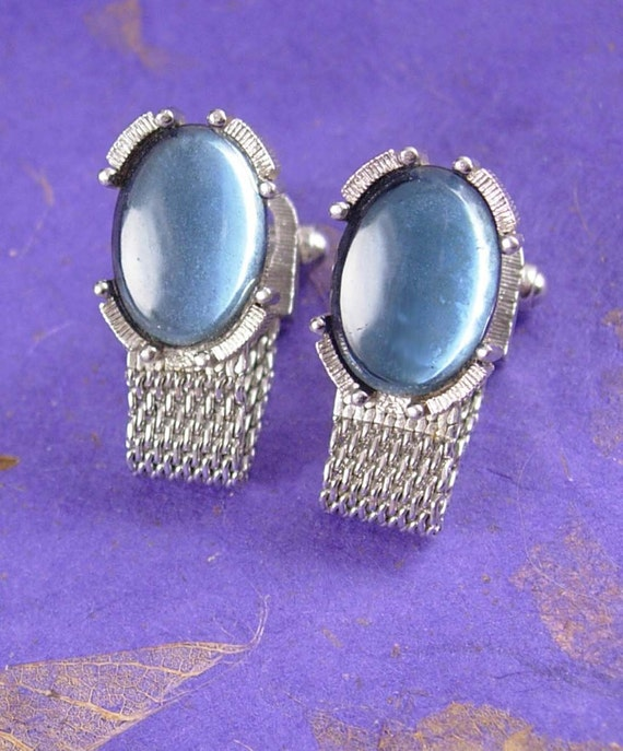 Moonglow cuff links elegance vintage cufflinks silver mesh for What is swank jewelry