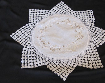 Vintage Crochet Edge Embroidered Doily