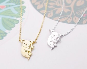 Koala Necklace, Tiny Animal Necklace, Aussie Animal Koala, Funny Necklace