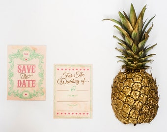 Vintage style ready to write save the dates - pack of 25