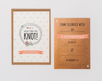 Tying the knot - Wedding reception invitations - pack of 25